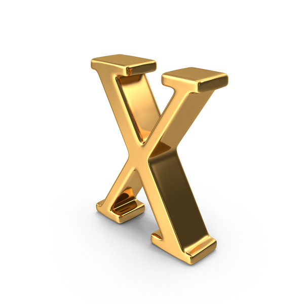 Language: Gold Capital Letter X PNG & PSD Images