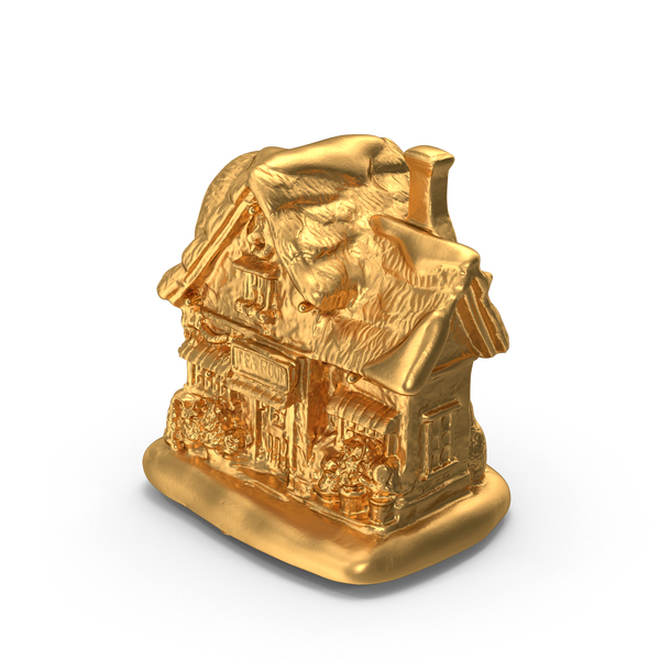 Gold Christmas Tea House Decoration PNG & PSD Images