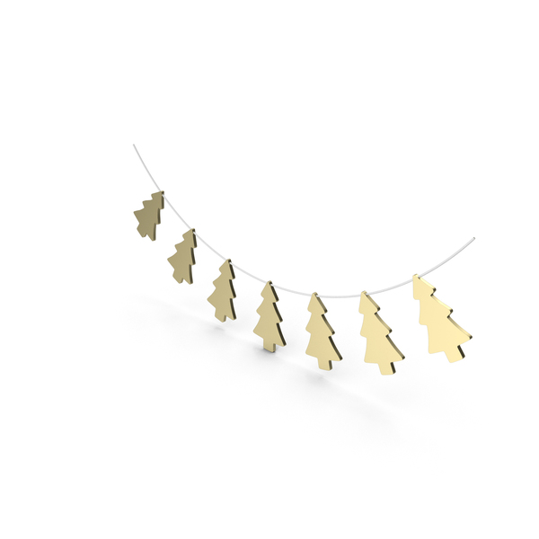 Wreath: Gold Christmas Tree Garland PNG & PSD Images