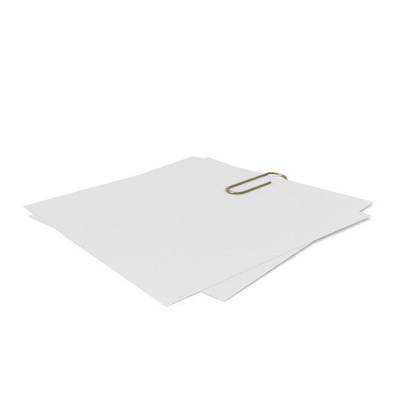 Sticky Note: Gold Clip with Papers PNG & PSD Images
