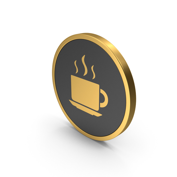 Computer: Gold Coffee Cup Icon PNG & PSD Images