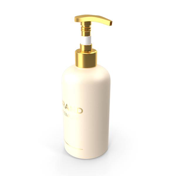Hand Lotion: Gold Cosmetic Pump Bottle PNG & PSD Images