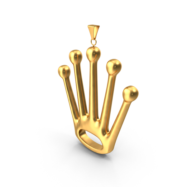Necklace: Gold Crown Pendant PNG & PSD Images