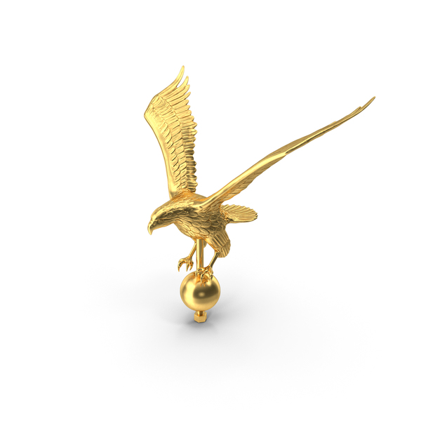 Bird Statue: Gold Eagle Flagpole Topper PNG & PSD Images