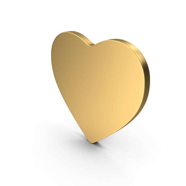 Gold Flat Heart PNG & PSD Images