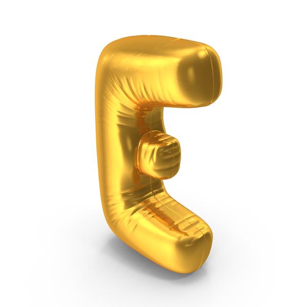Gold Foil Balloon Letter E Object