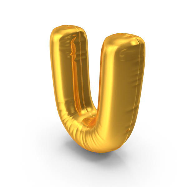 Language: Gold Foil Balloon Letter U Object