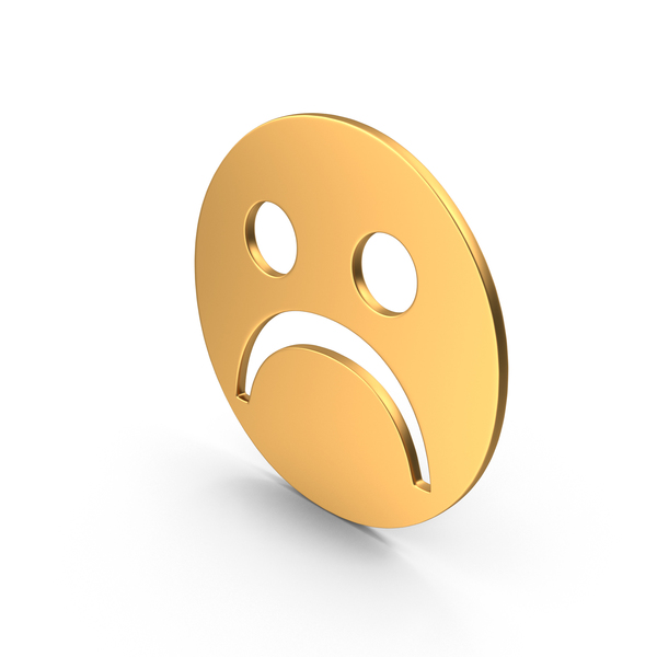 Gold Frowning Face Sign PNG & PSD Images