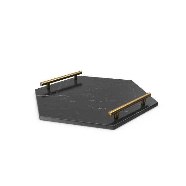 Gold Handle Black Hexogon Shape Marble Tray PNG & PSD Images