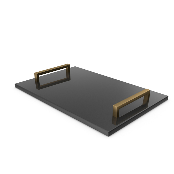 Gold Handle Black Marble Tray PNG & PSD Images