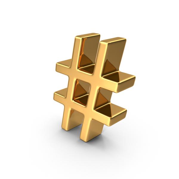 Mathematical Symbols: Gold Hash Tag Symbol PNG & PSD Images