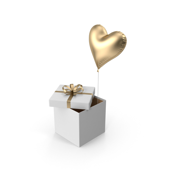 Gold Heart Balloon Box PNG & PSD Images