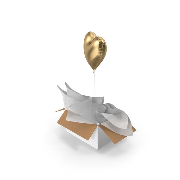 Gold Heart Balloon Surprise Box PNG & PSD Images
