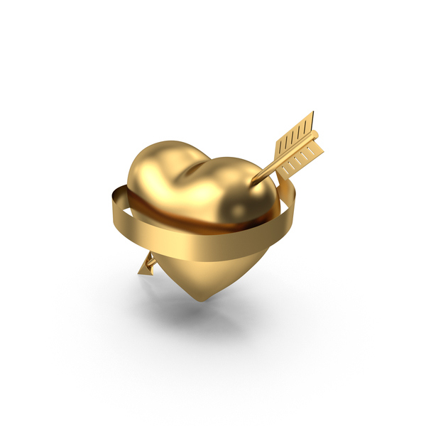 Gold Heart with Arrow and Banner PNG & PSD Images