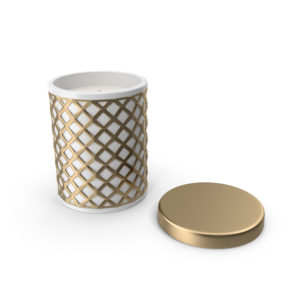 Gold Holiday Candle with Cap PNG & PSD Images