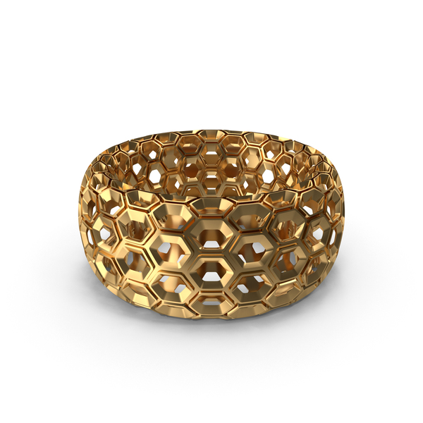 Gold Honeycomb Ring PNG & PSD Images