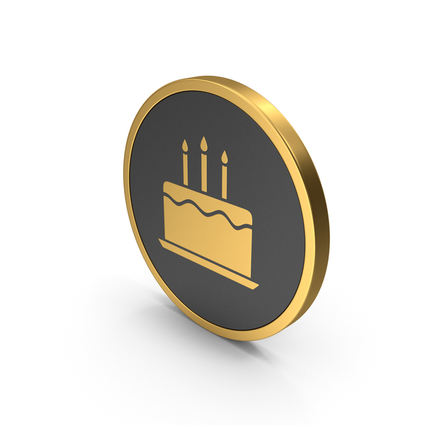 Gold Icon Birthday Cake PNG & PSD Images