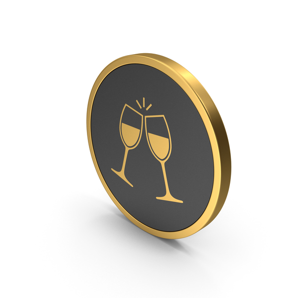 Logo: Gold Icon Clinking Glasses PNG & PSD Images