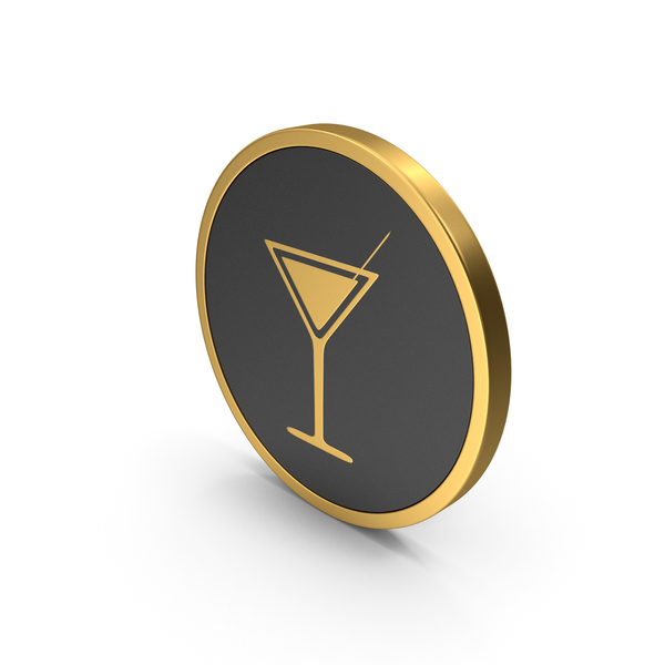 Gold Icon Cocktail Glass PNG & PSD Images