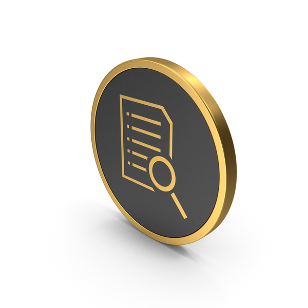 File Holder: Gold Icon Document With Magnifying Glass PNG & PSD Images
