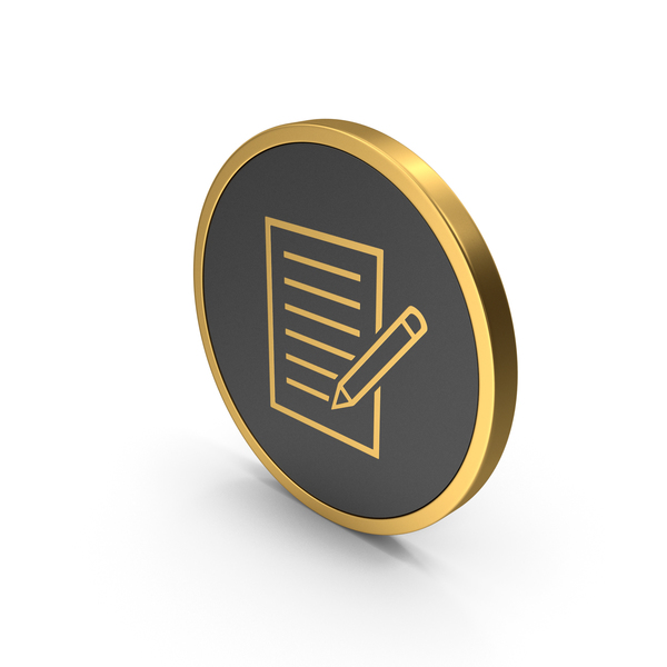 Industrial Equipment: Gold Icon Document With Pen PNG & PSD Images