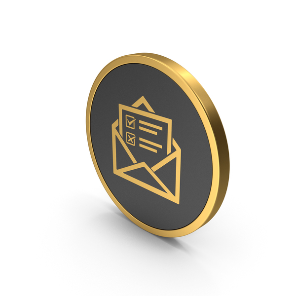 Computer: Gold Icon Envelope With Checklist PNG & PSD Images
