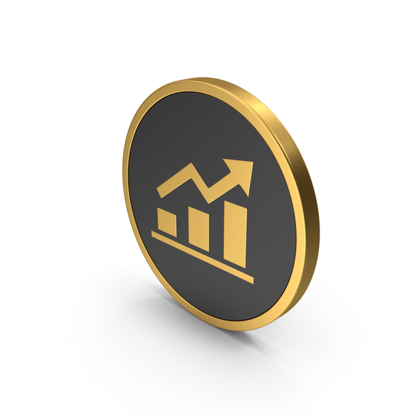 Line: Gold Icon Graph Chart PNG & PSD Images