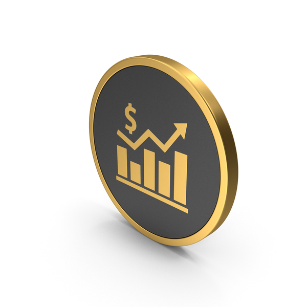 Pie: Gold Icon Graph Chart With Dollar Sign PNG & PSD Images