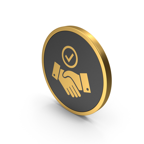 Computer: Gold Icon Handshake With Checkmark PNG & PSD Images
