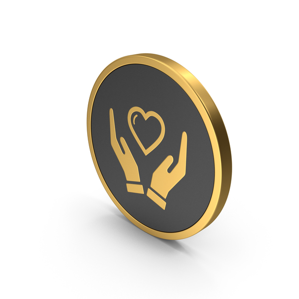 Heart Shaped Candy: Gold Icon Heart In Hands PNG & PSD Images