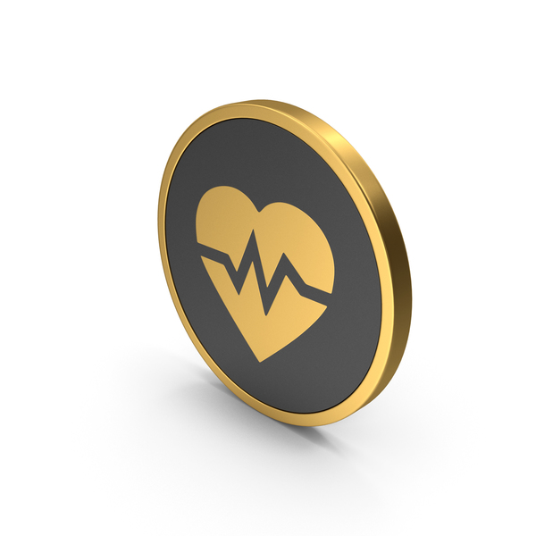 Heart Shaped Candy: Gold Icon Heart Medicine PNG & PSD Images