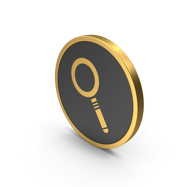Gold Icon Magnyfying Glass PNG & PSD Images