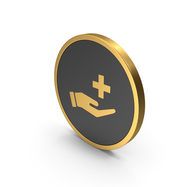 Caduceus: Gold Icon Medical Cross In Hand PNG & PSD Images