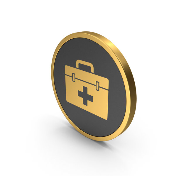 First Aid: Gold Icon Medical Kit PNG & PSD Images
