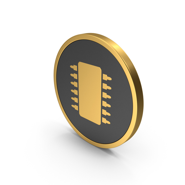 Computer Chip: Gold Icon Microchip PNG & PSD Images