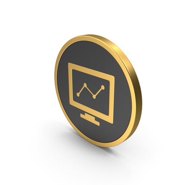 Gold Icon Monitor Chart PNG & PSD Images
