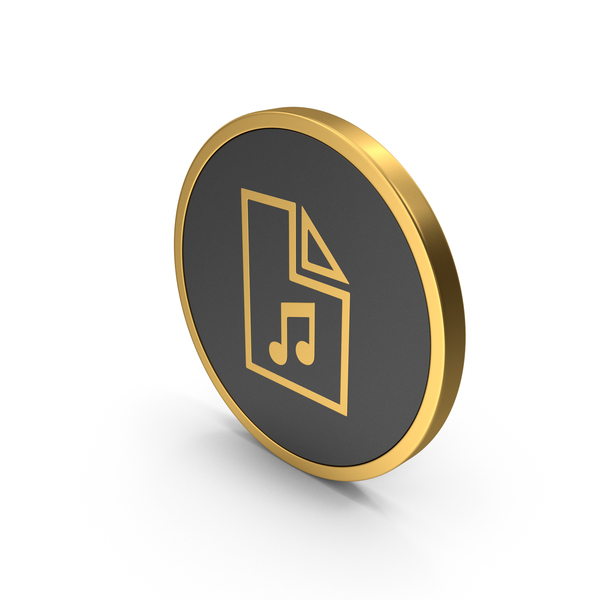 Computer: Gold Icon Music File PNG & PSD Images
