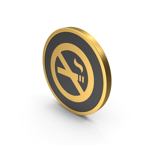 Logo: Gold Icon No Smoking PNG & PSD Images
