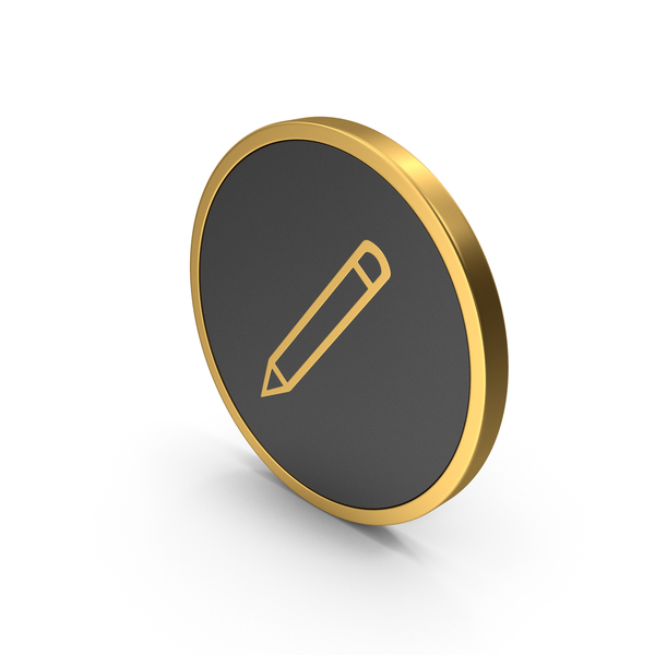 Computer: Gold Icon Pencil PNG & PSD Images