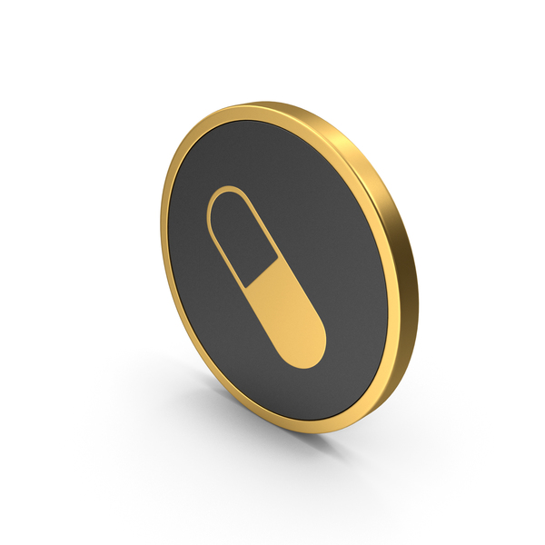 Gold Icon Pill PNG & PSD Images