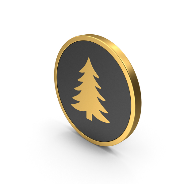 Gold Icon Pine Tree PNG & PSD Images