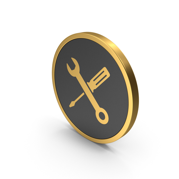 Logo: Gold Icon Screwdriver And Wrench PNG & PSD Images