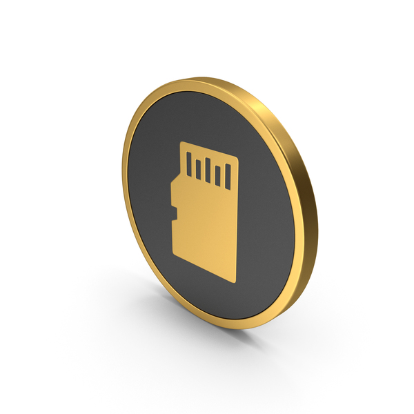 Symbols: Gold Icon SD Card PNG & PSD Images