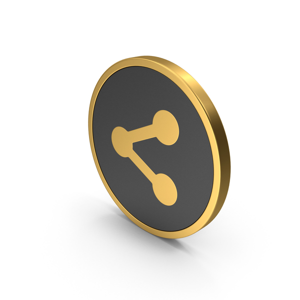 Computer: Gold Icon Share Button PNG & PSD Images