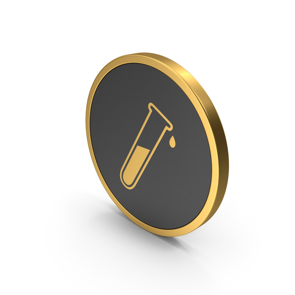 Gold Icon Test Tube PNG & PSD Images