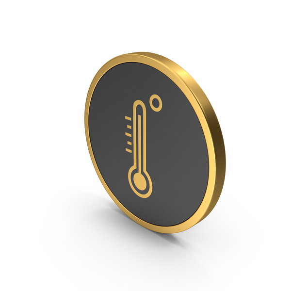 Gold Icon Thermometer PNG & PSD Images