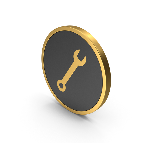 Symbols: Gold Icon Wrench PNG & PSD Images