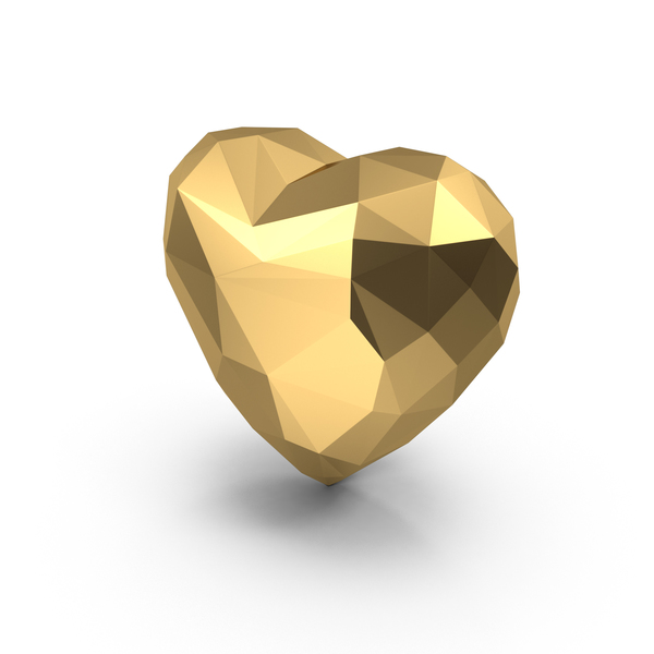 Shape: Gold Low Poly Heart PNG & PSD Images