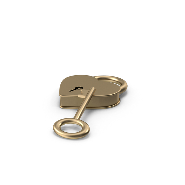 Gold Metal Heart Shaped Padlock and Key PNG & PSD Images