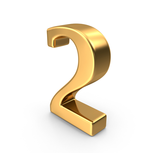 Gold Number 2 PNG & PSD Images
